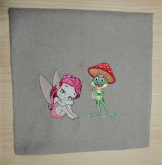 Embroidered pillowcase with cartoon characters
