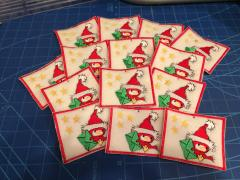 Embroidered souvenir with Bird with Christmas mail_design