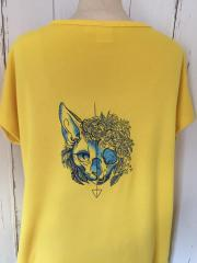 Embroidered t-shirt with Cat skull design