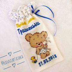 Embroidered textile bag with Cute bear design