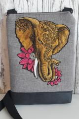 Embroidered textile bag with Indian elephant design