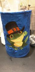 Embroidered textile basket with Frog in hat design