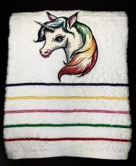 Embroidered towel with Unicorn design