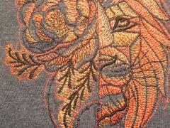Fantastic lion and flowers embroidery design