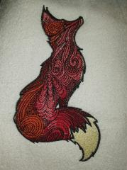 Mosaic fox embroidery design