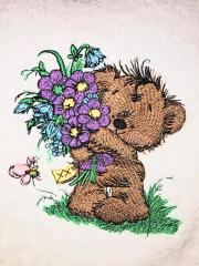 Teddy bear with flowers design