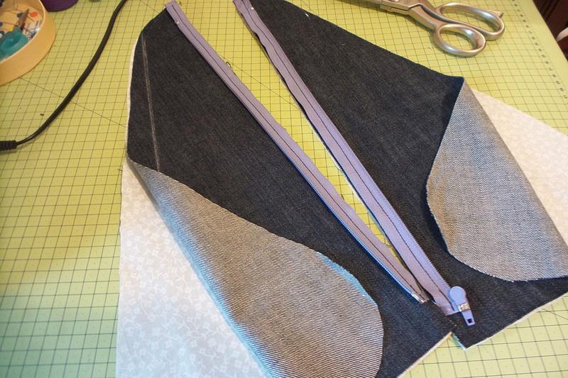 Halves of the denim bag's front panel