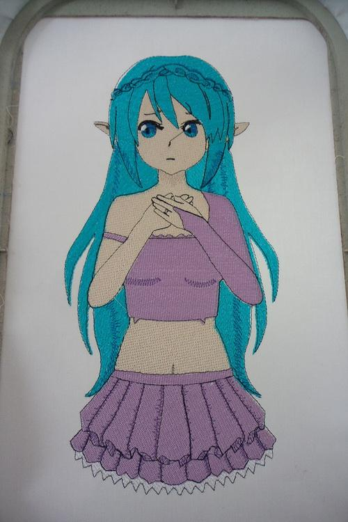 Girl with cyan hair embroidery