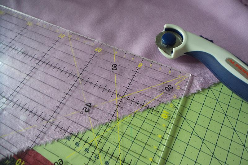 Fabric, ruler and the rolling blade