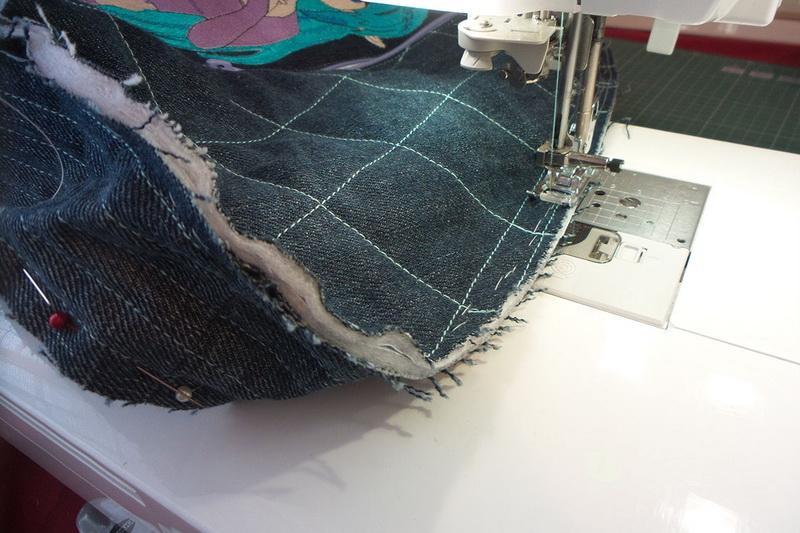 Stitching denim backpack