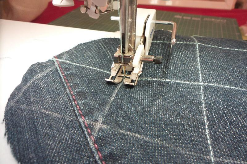 Stitching pattern on denim panel