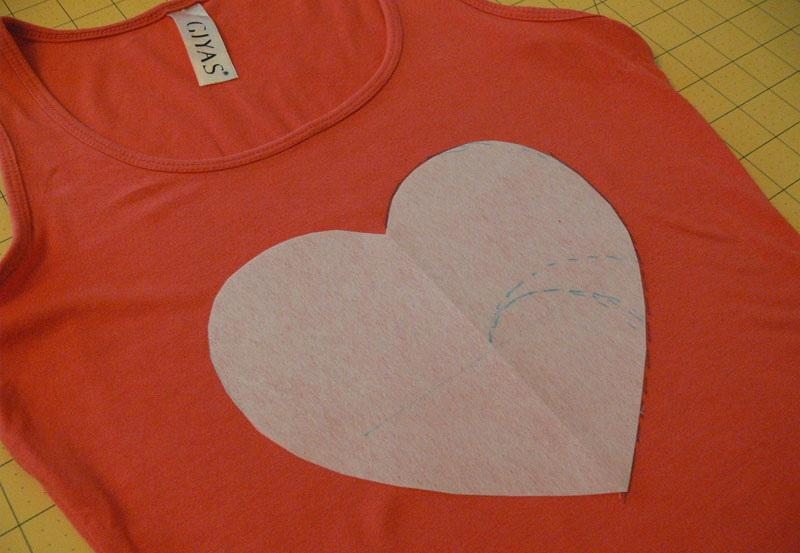 Heart-shaped cutout on a tank top