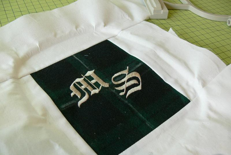 Green checkered fabric with embroidery