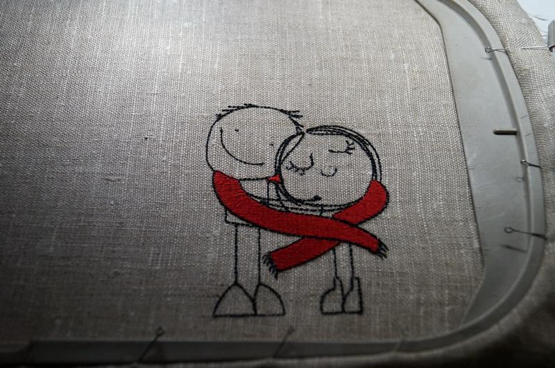 Linen fabric embroidered with boy and girl design