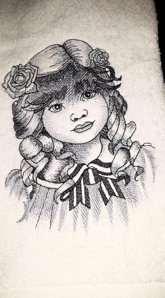 Embroidered towel with Girl's portrait design