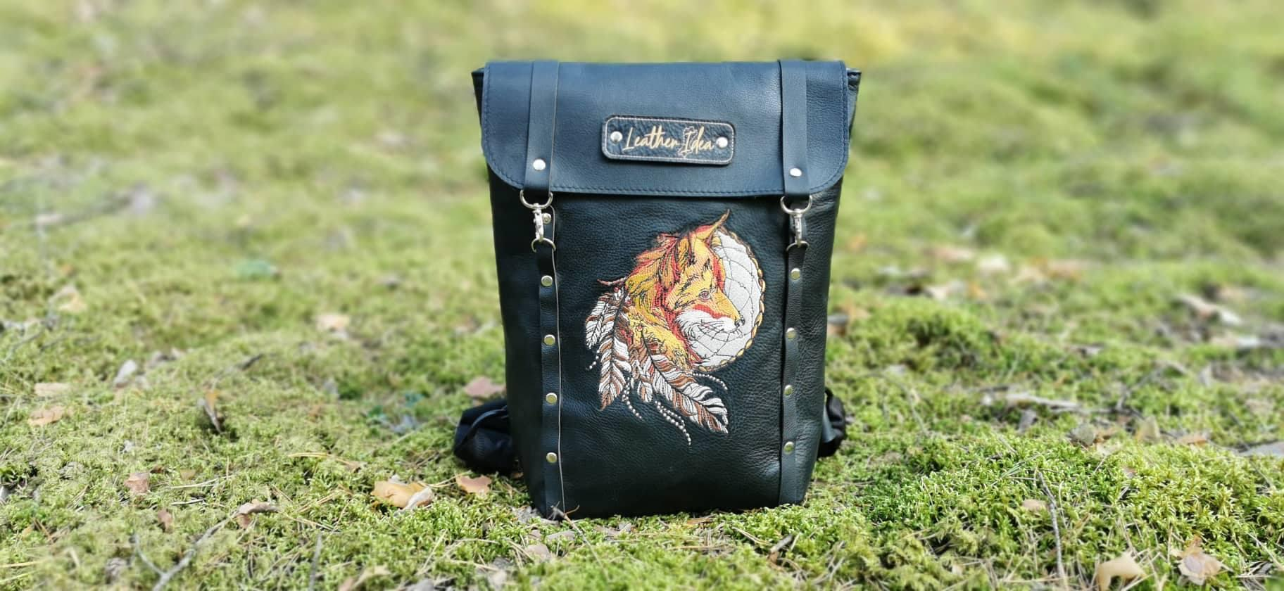 Embroidered backpack with Fox and Dreamcatcher design