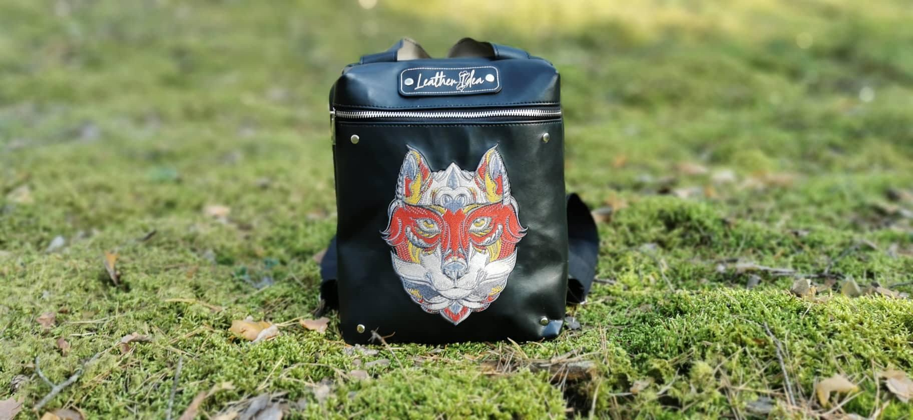 Embroidered backpack with Fox design