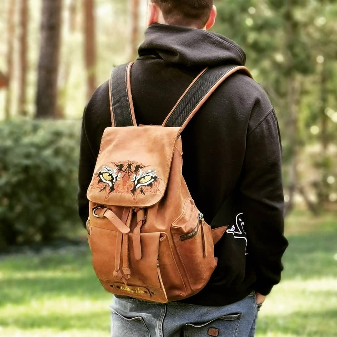 Embroidered backpack with Tiger Look design
