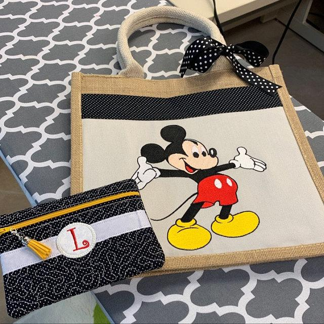 Embroidered bag with Mickey mouse design