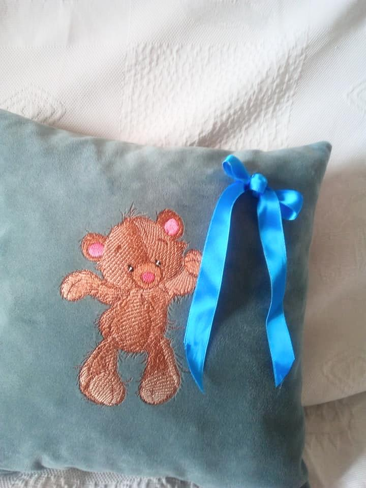 Embroidered cushion with Dancing Teddy bear design