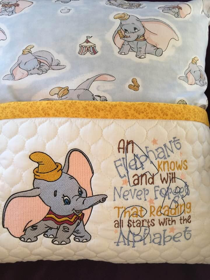 Embroidered cushion with Dumbo design