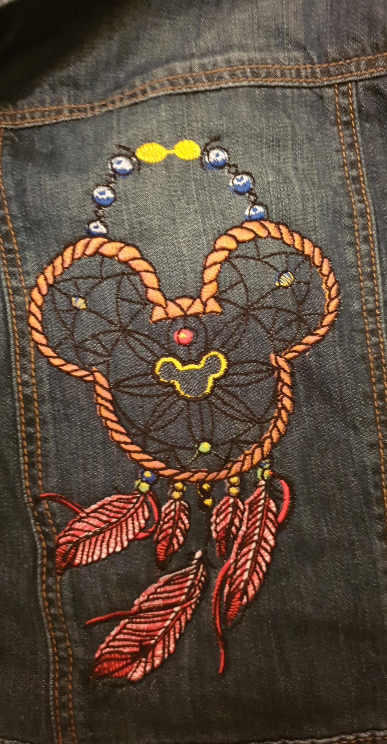 Embroidered jeans jacket with Mickey dreamcatcher design