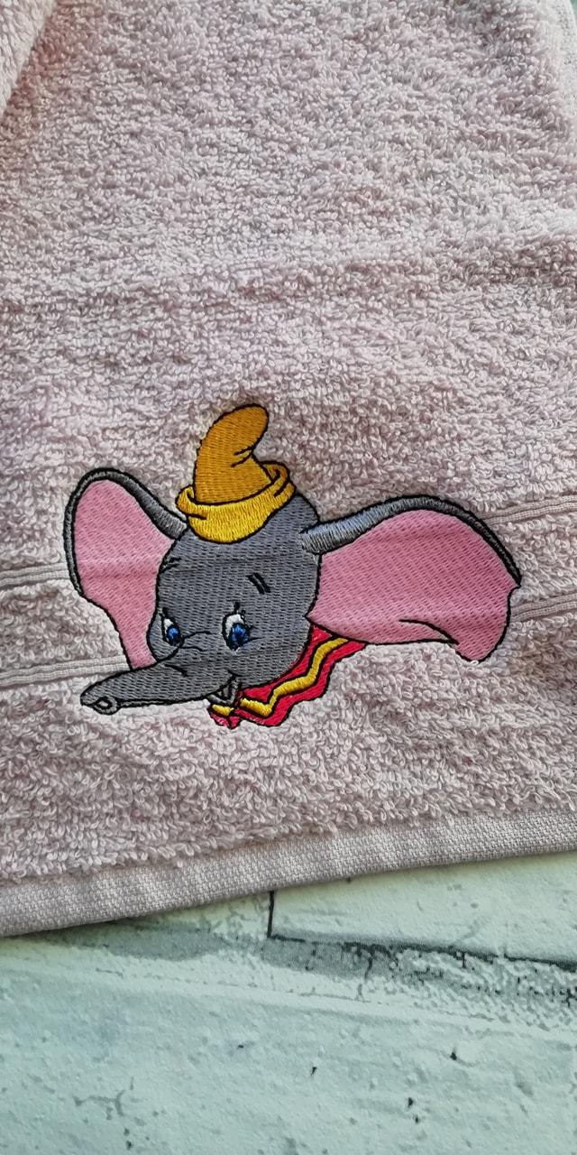 Embroidered towel with Dumbo design