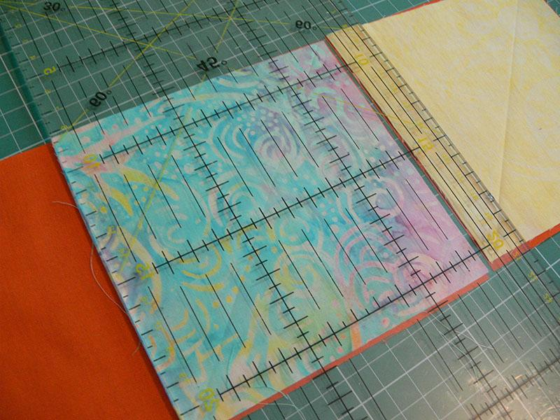 Sewing ruler on fabric