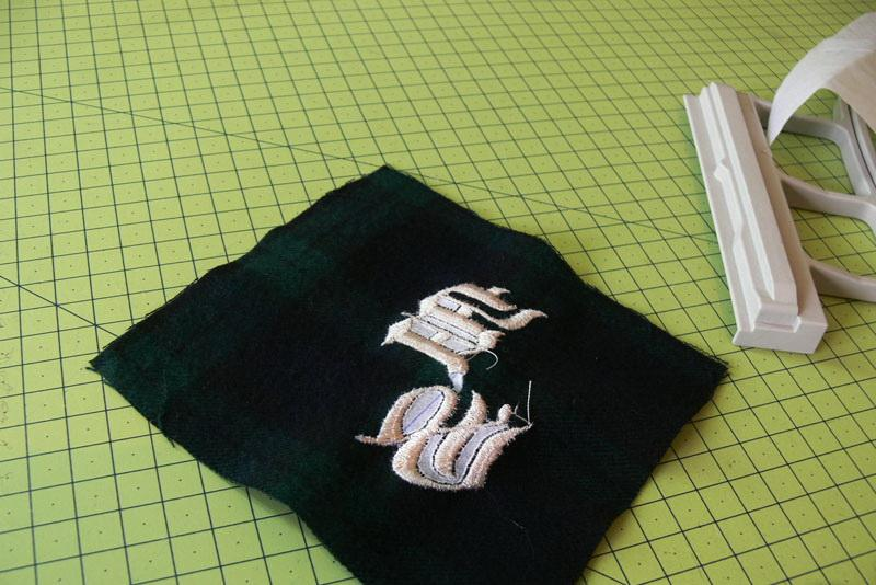 Monogram embroidery wrong side
