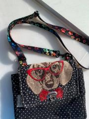 Embroidered bag with Hipster dog design