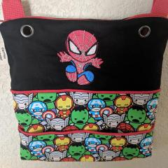 Embroidered bag with Spiderman design