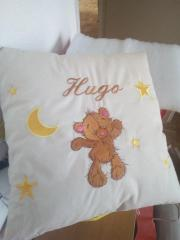 Embroidered cushion with Teddy bear design