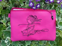 Embroidered handbag with Ballerina design