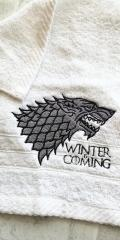 Embroidered towel with Wolf design