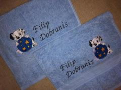 Embroidered towels with Puppy design
