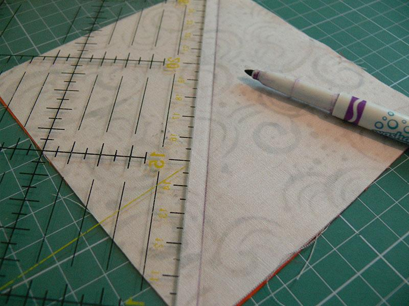 Diagonal lines on the square piece of fabric