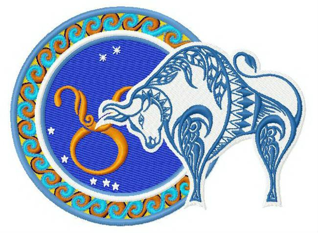 Zodiac sign Taurus embroidery design