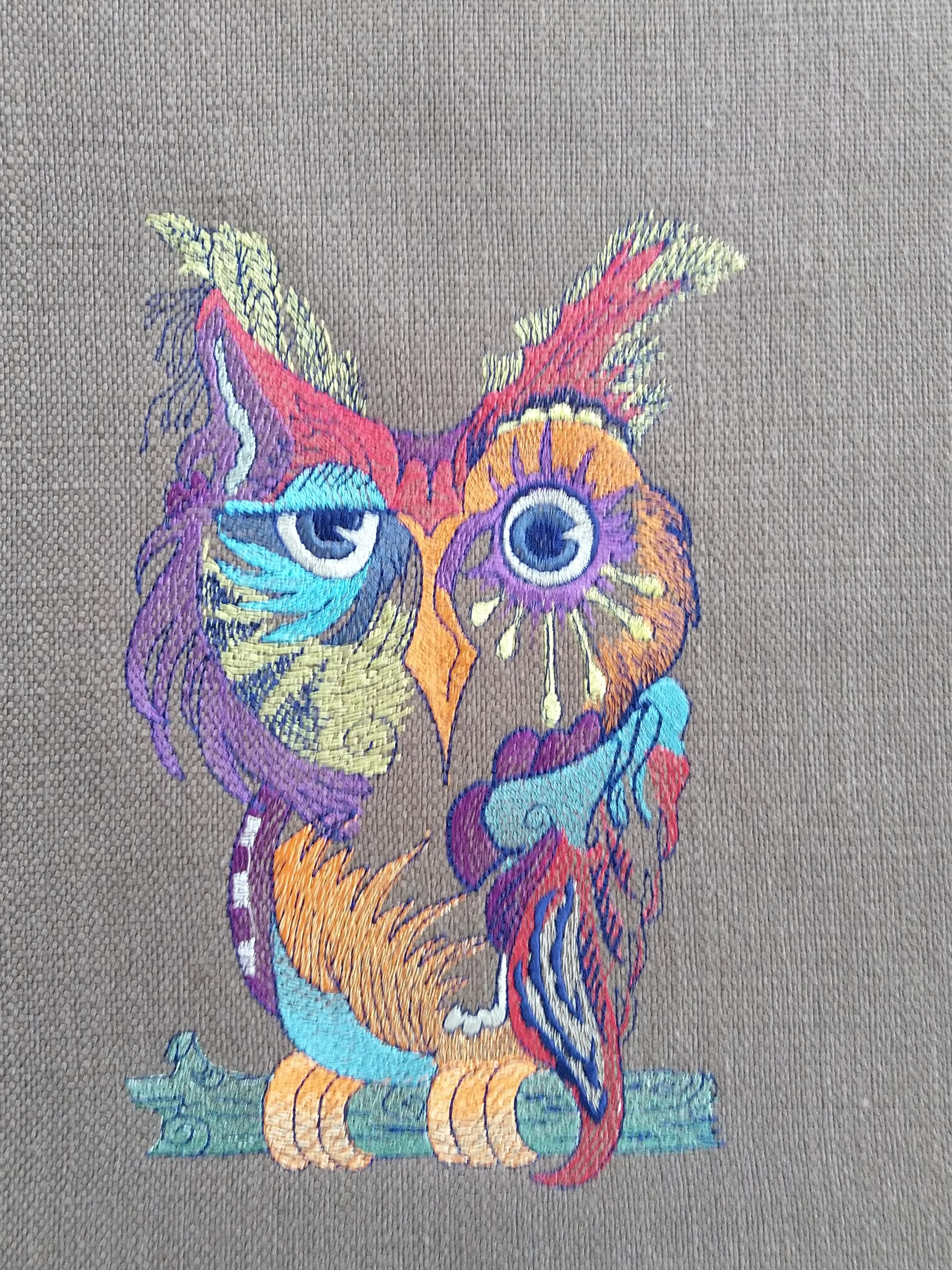 Owl  colored embroidery design