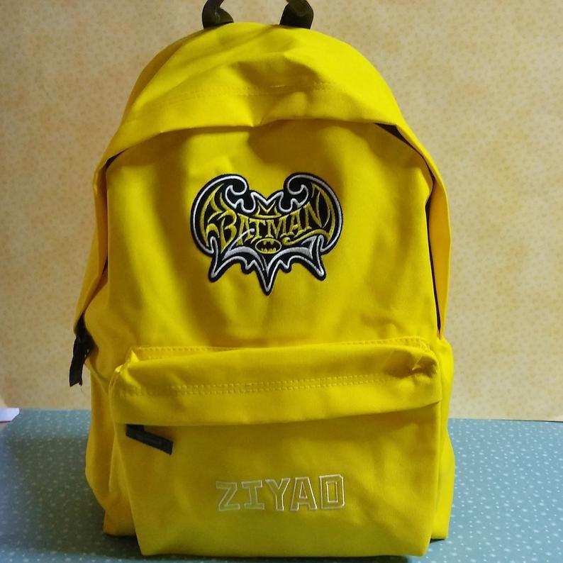 Embroidered backpack with Batman design