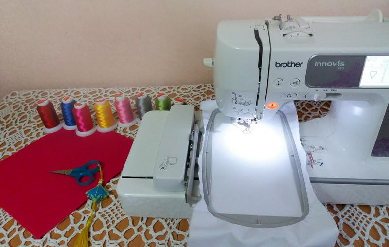 Embroidery machine and threads
