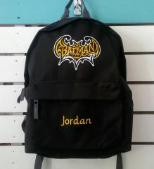 Embroidered backpack with Batman logo design