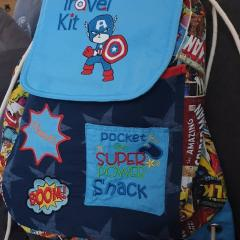 Embroidered backpack with Captain America design