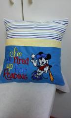 Embroidered cushion with Mickey Mouse design