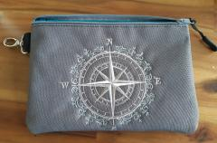 Embroidered handbag with Wind rose design