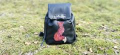 Embroidered leather backpack with Mosaic fox design