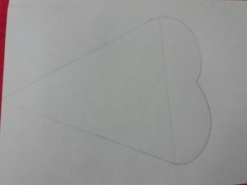 Triangle-heart drawn on paper