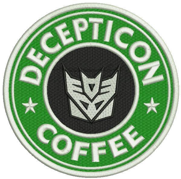 Decepticon coffee embroidery design