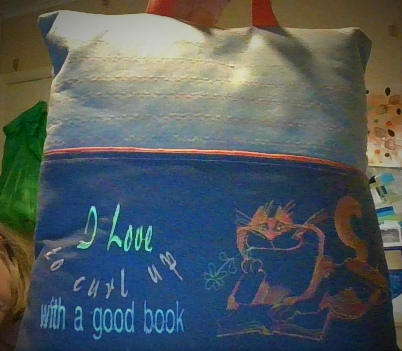 Embroidered cushion with clever Cat free design