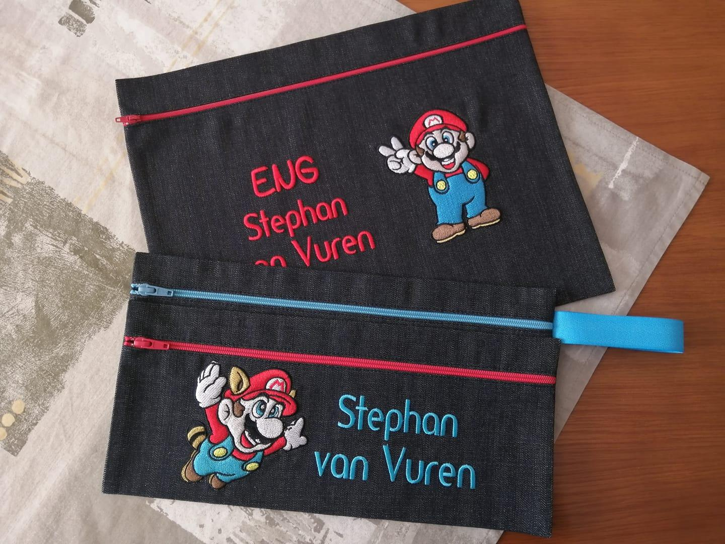 Set of embroidered handbags with Mario designs