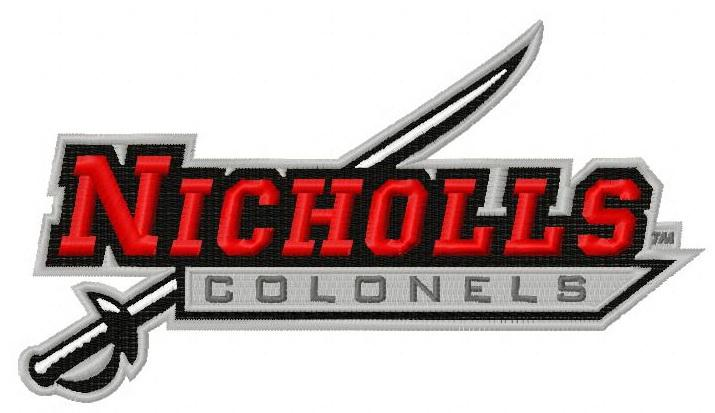 Nicholls State colonels logo machine embroidery design